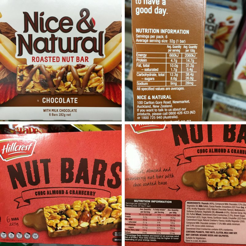 Nice Natural Nut Bar vs Aldi Nut Bar