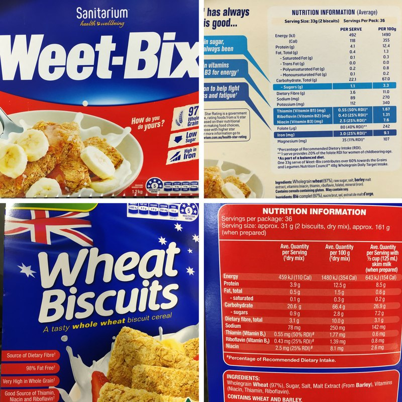 Perth Nutritionist weet-bix vs wheat biscuits