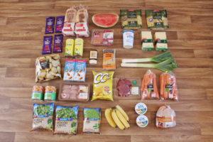food shopping flatlay