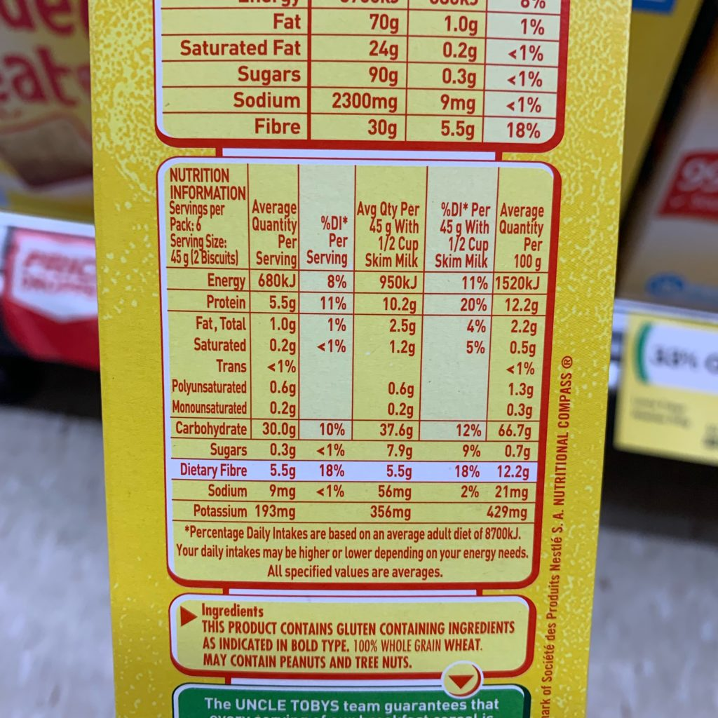 Shredded Wheat Nutrition