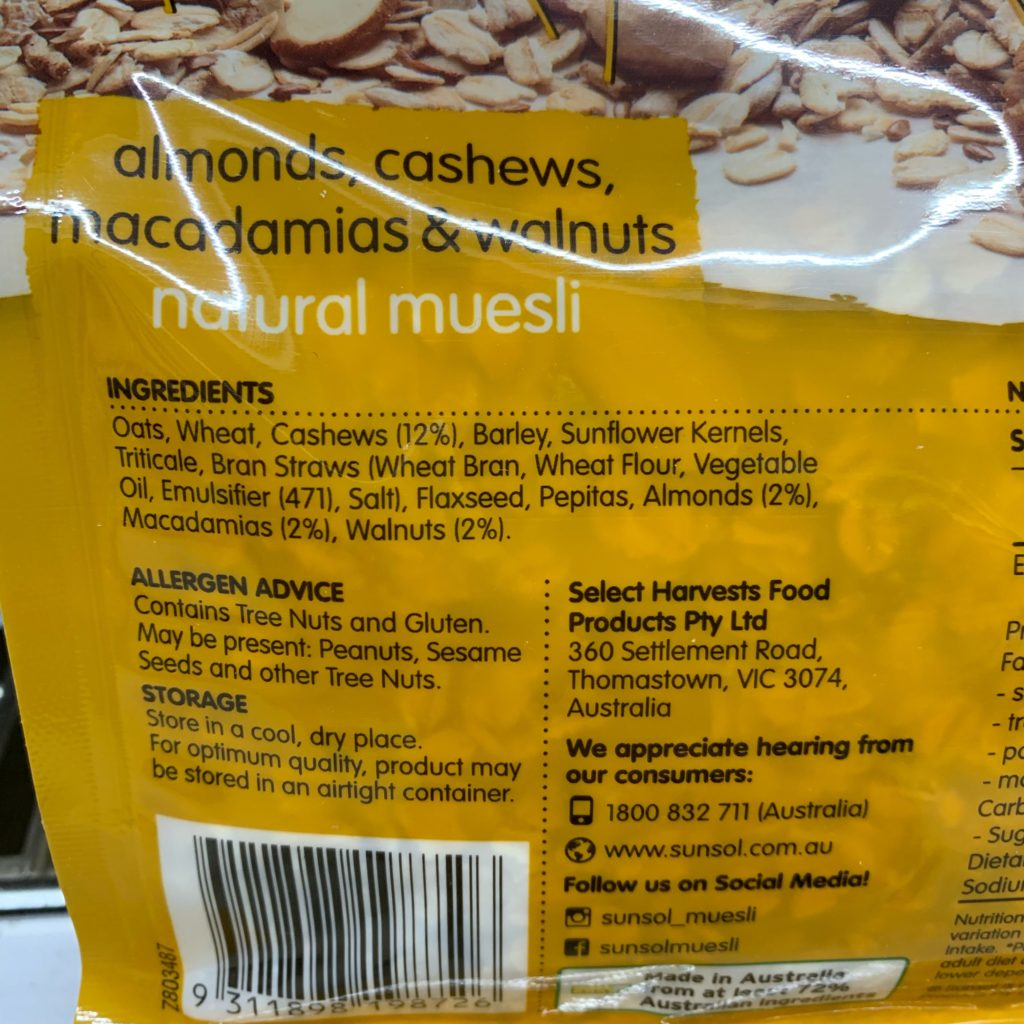 SunSol Muesli Ingrediets