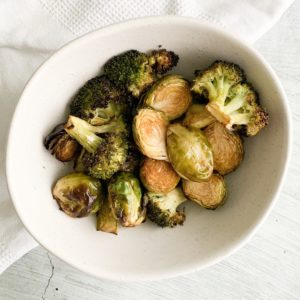 Air Fryer Brussels Sprouts and Broccoli