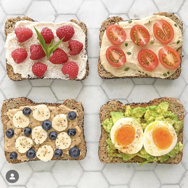Healthy bread with toppings