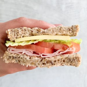 Ham and salad sandwhich
